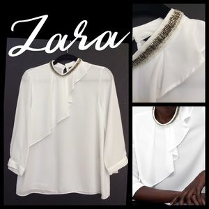Zara White flowing blouse with beaded collar. XS